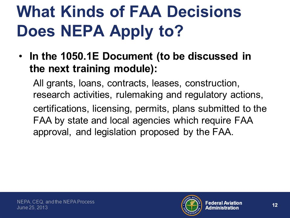 What Kinds of FAA Decisions Does NEPA Apply to