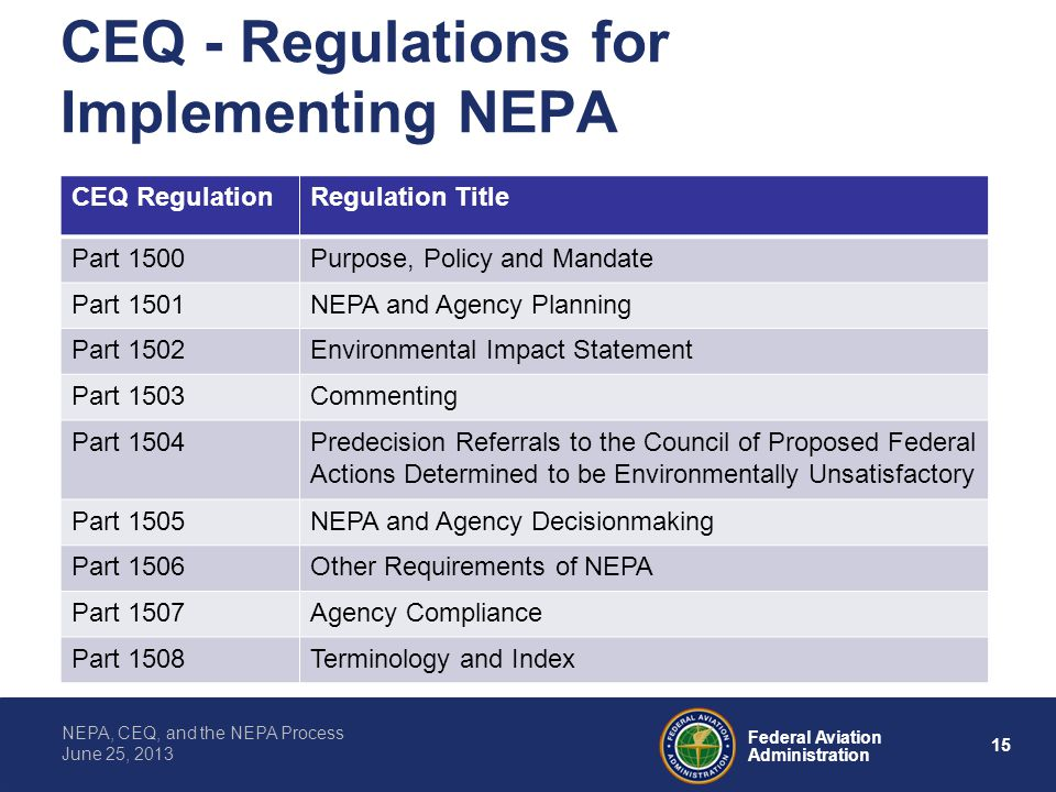 CEQ - Regulations for Implementing NEPA