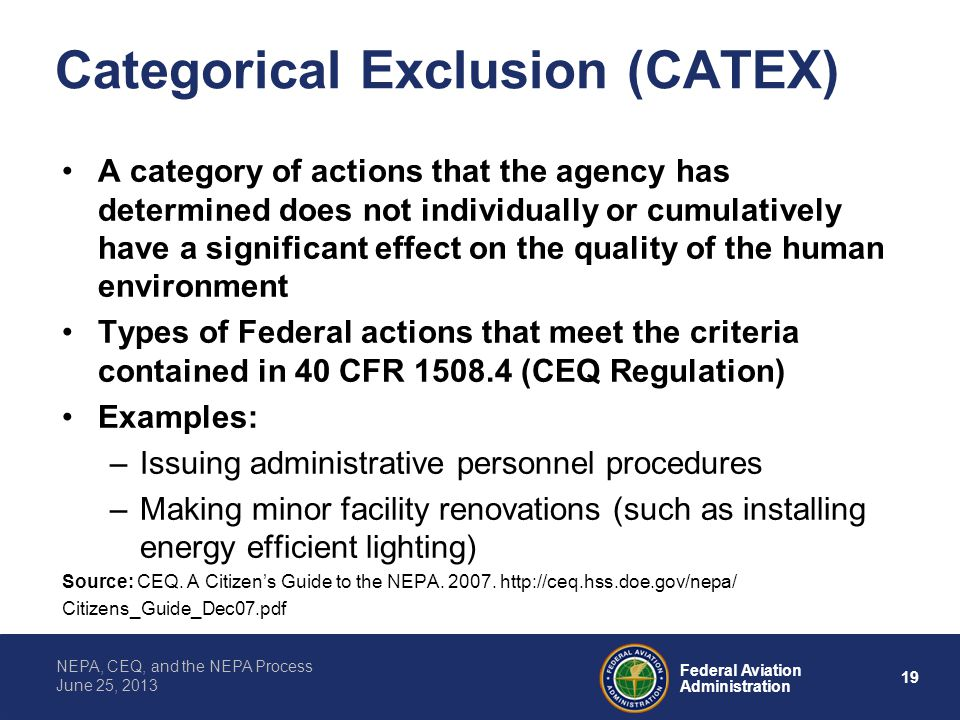 Categorical Exclusion (CATEX)