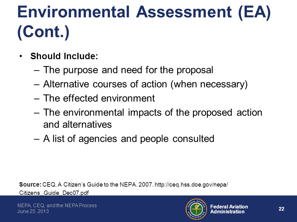Environmental Assessment (EA) (Cont.)