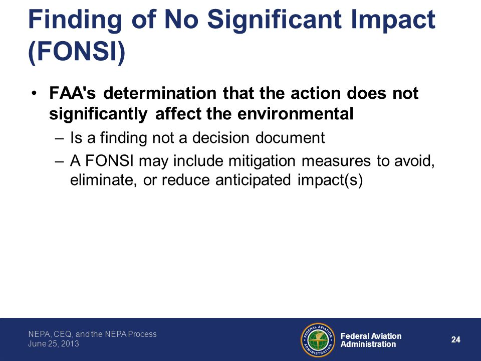 Finding of No Significant Impact (FONSI)