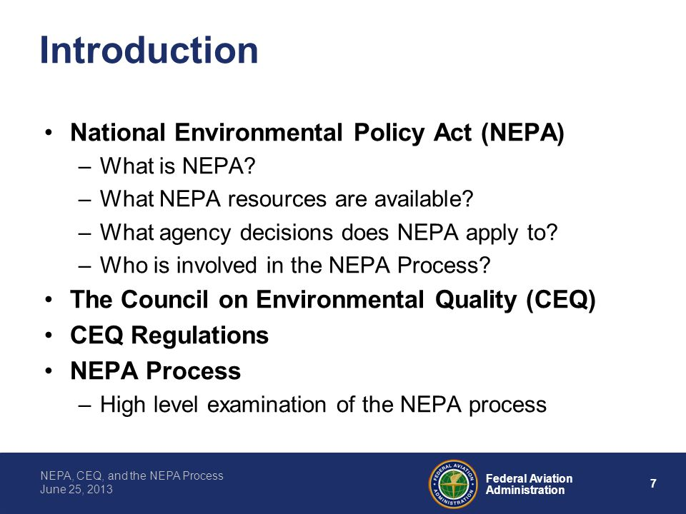 Introduction National Environmental Policy Act (NEPA)