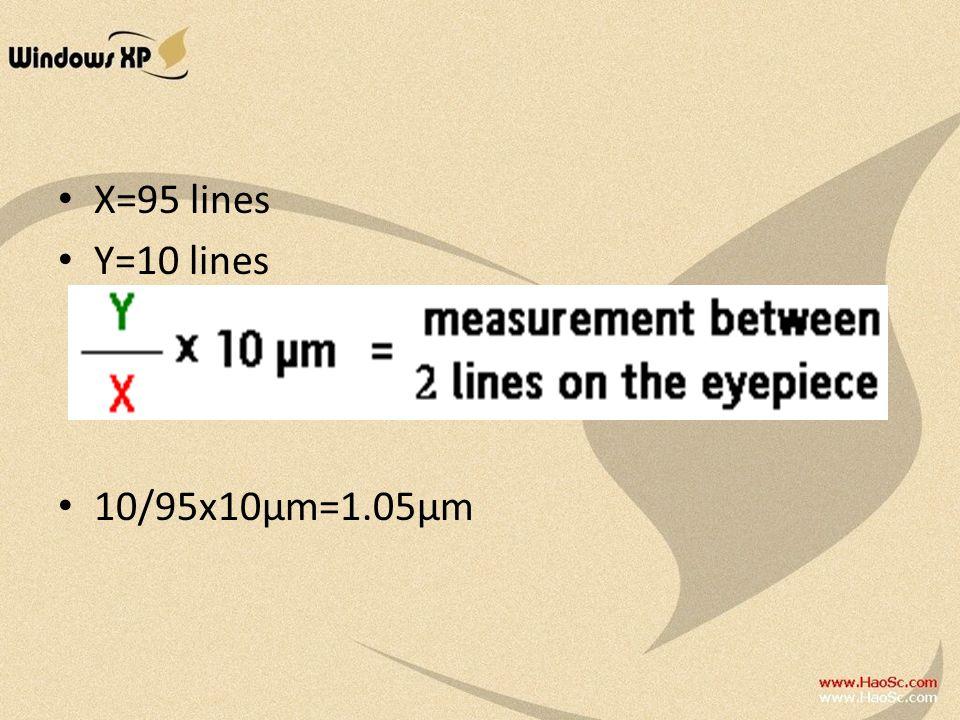 X=95 lines Y=10 lines 10/95x10μm=1.05μm