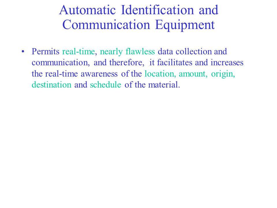 Automatic Identification and Communication Equipment