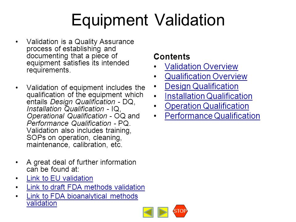 Equipment Validation Contents Validation Overview