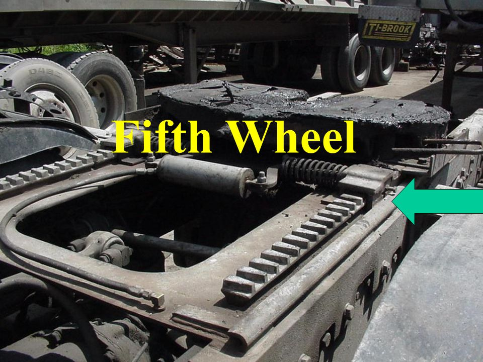 Fifth Wheel Check frame attachment and all related components, such as cross members, welds, bolts, release handle and locking device.