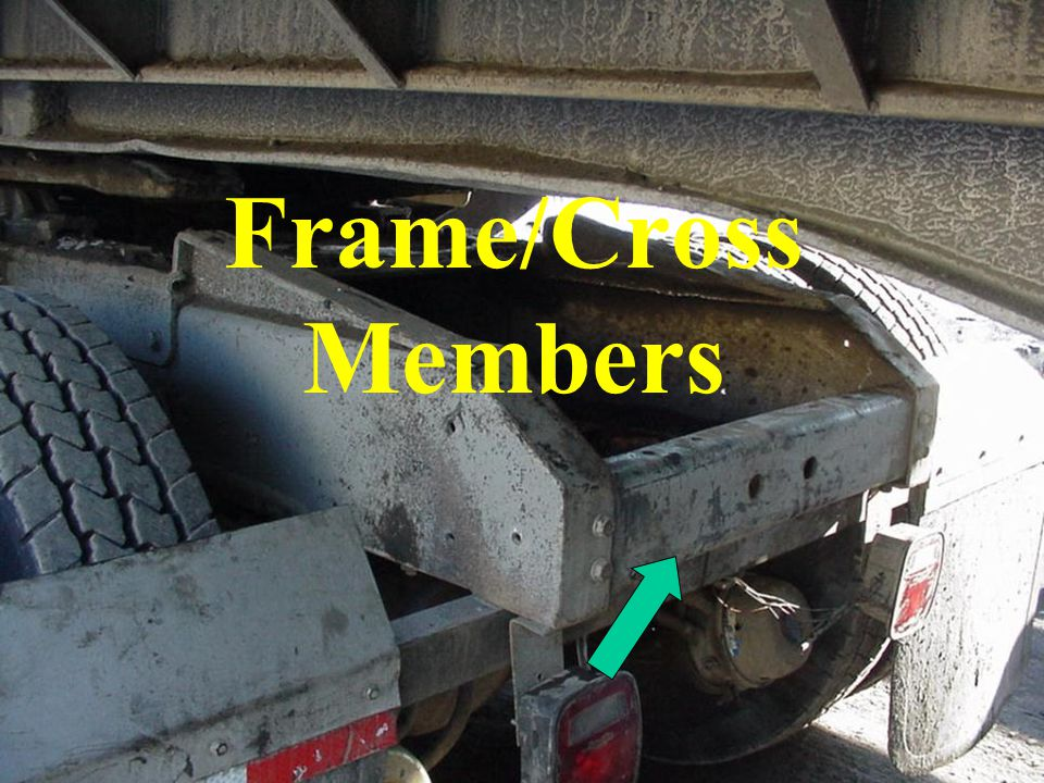 Frame/Cross Members Examine main frame and cross members for cracks and worn or defective components.