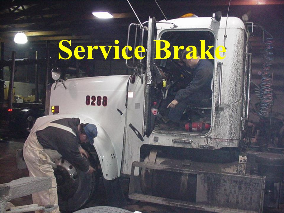Service Brake Depress service brake pedal and keep depressed while observing air gauge for excessive loss of air pressure.