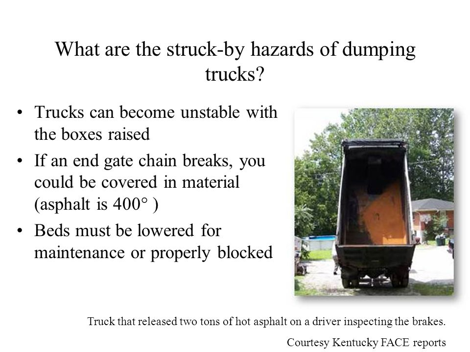 What are the struck-by hazards of dumping trucks