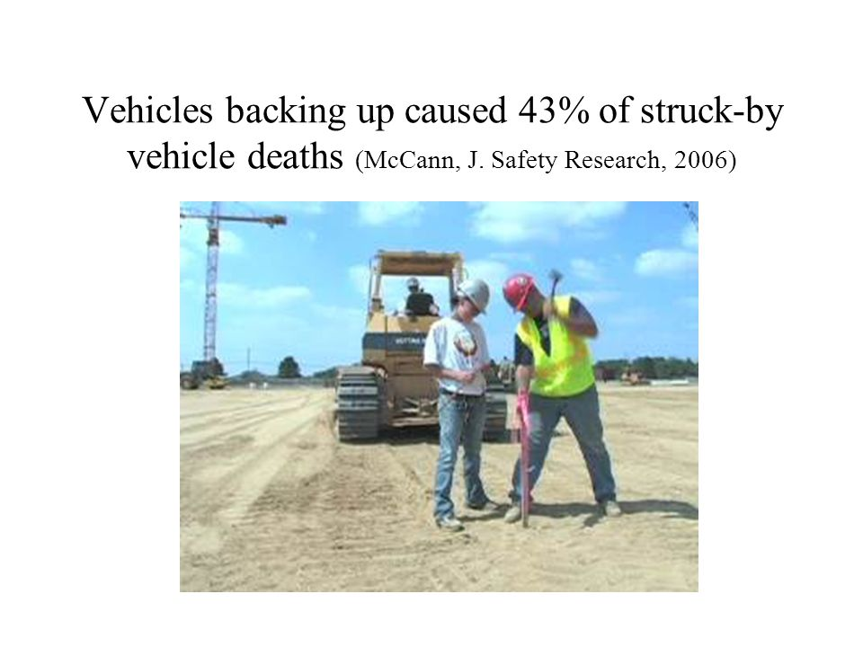 Vehicles backing up caused 43% of struck-by vehicle deaths (McCann, J