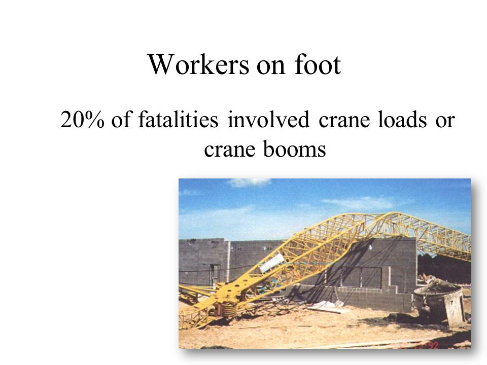 20% of fatalities involved crane loads or crane booms