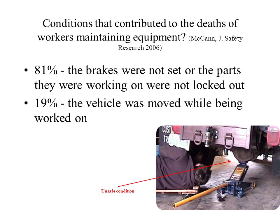 19% - the vehicle was moved while being worked on