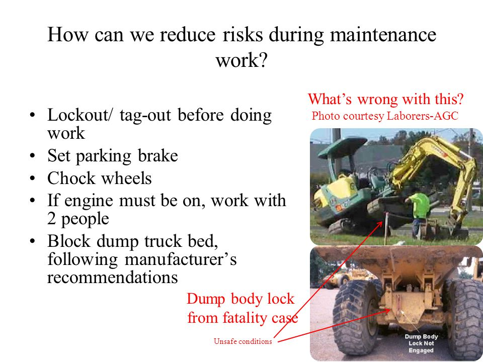 How can we reduce risks during maintenance work