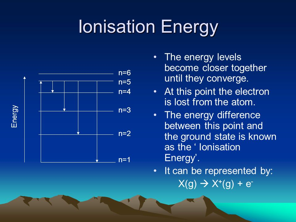 Ionisation EnergyThe energy levels become closer together until they converge. At this point the electron is lost from the atom.