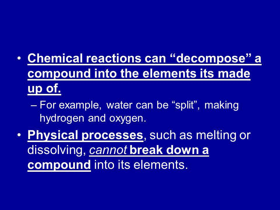 Chemical reactions can decompose a compound into the elements its made up of.