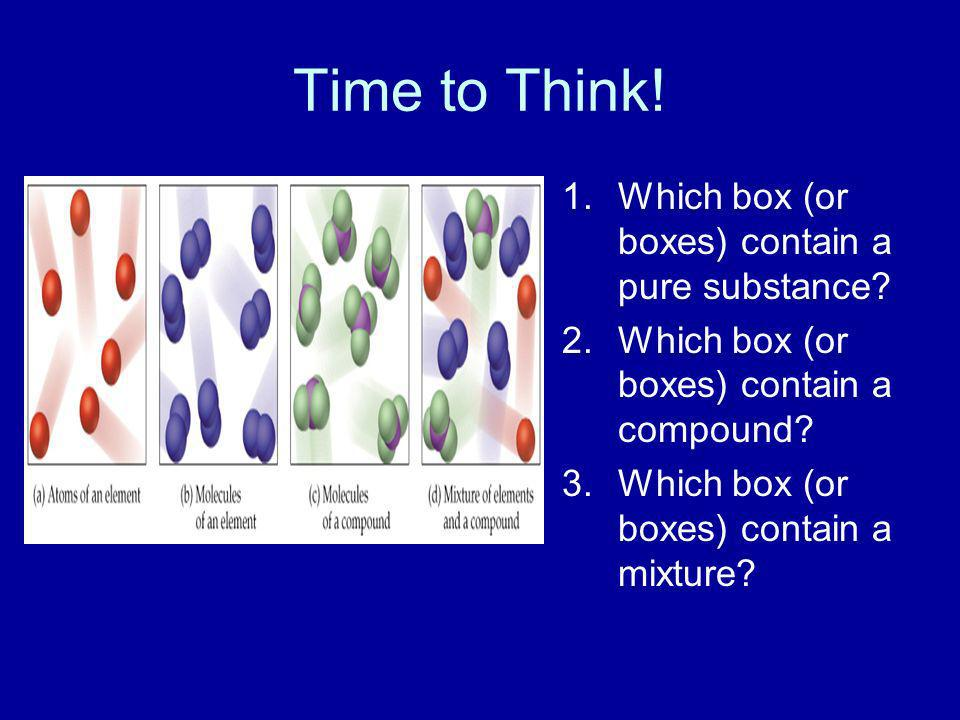 Time to Think! Which box (or boxes) contain a pure substance
