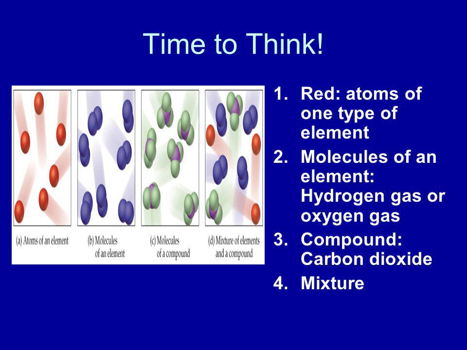 Time to Think! Red: atoms of one type of element