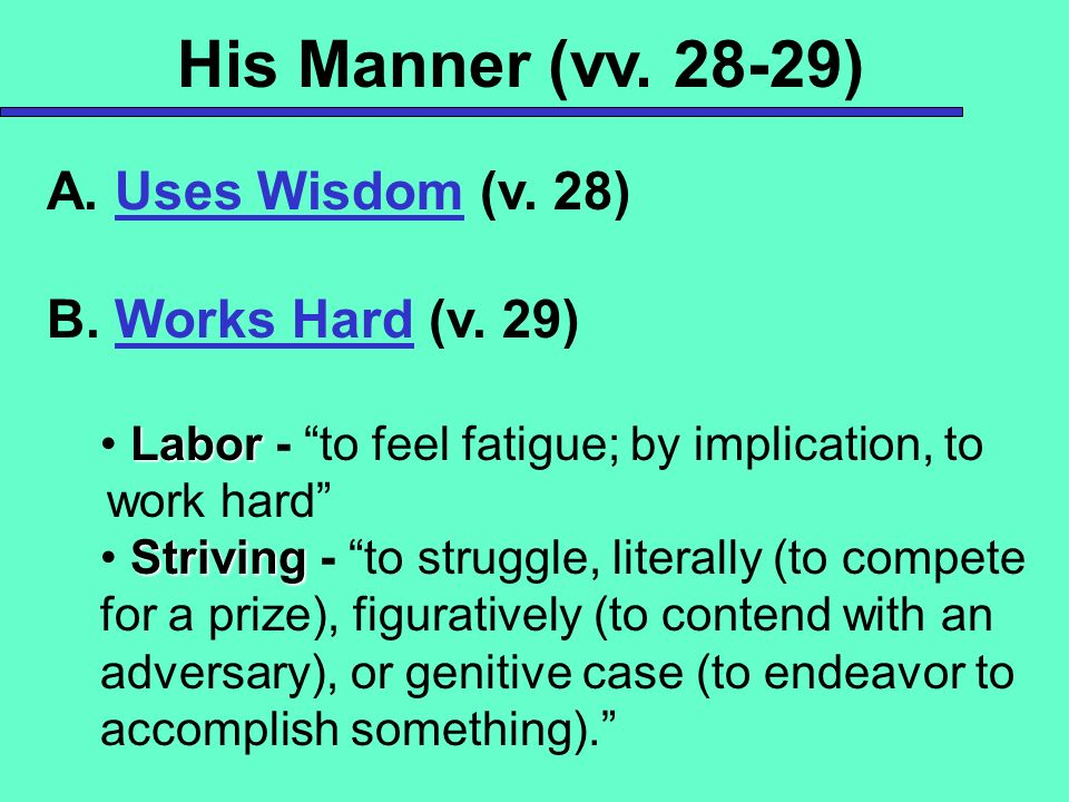 His Manner (vv ) A. Uses Wisdom (v. 28) B. Works Hard (v. 29)