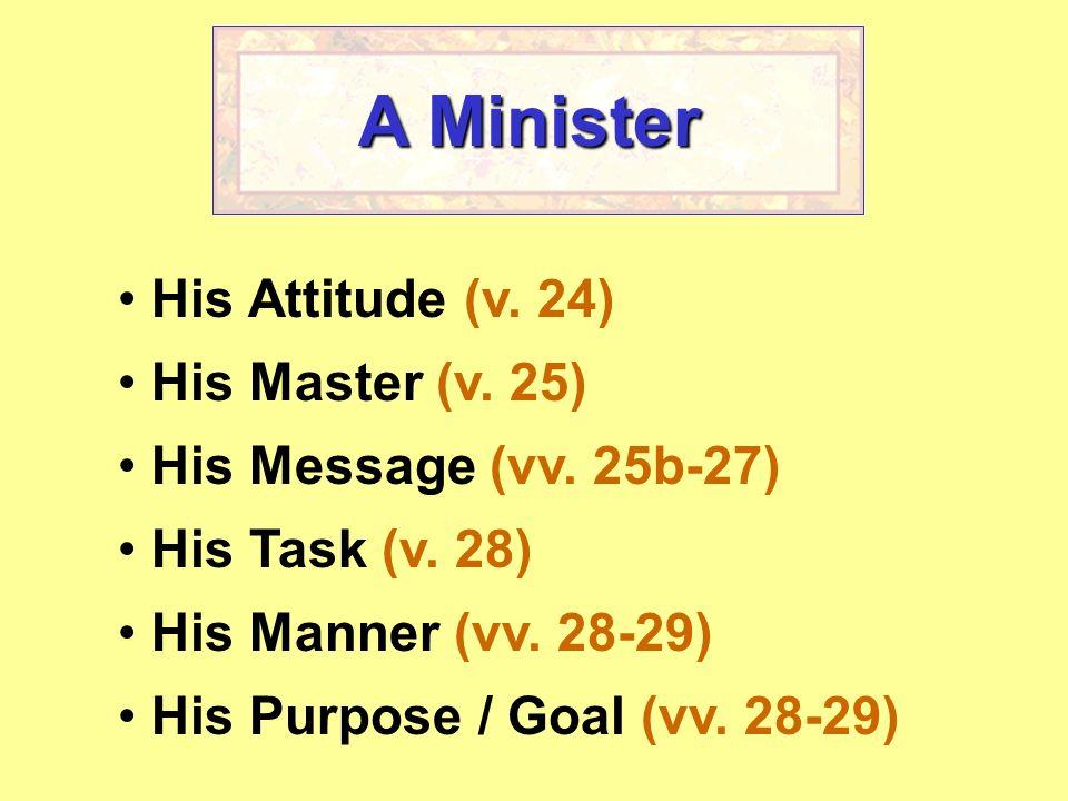 A Minister His Attitude (v. 24) His Master (v. 25)