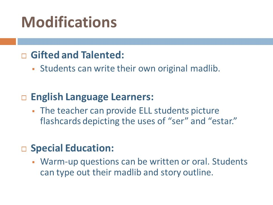 Modifications Gifted and Talented: English Language Learners:
