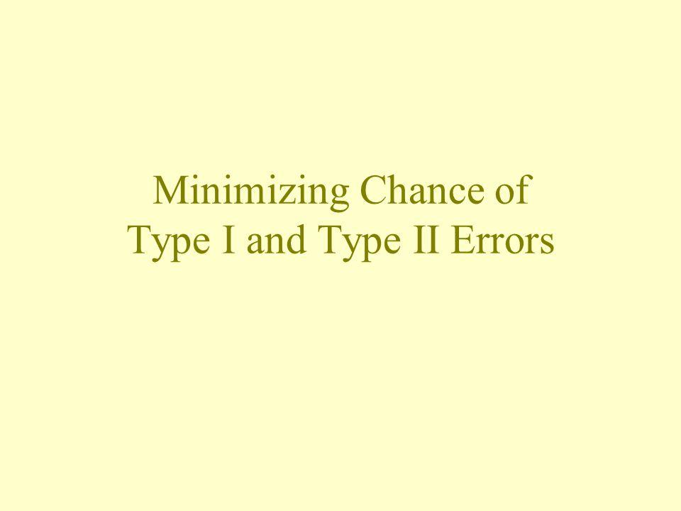 Minimizing Chance of Type I and Type II Errors