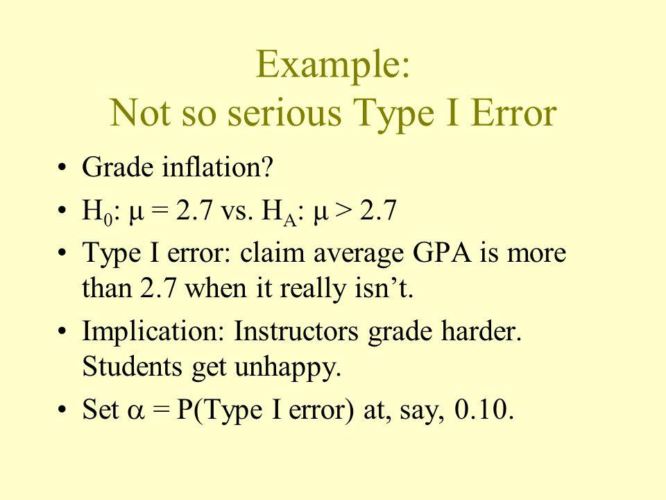 Example: Not so serious Type I Error