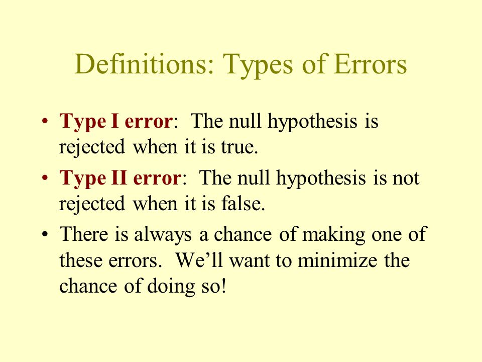 Definitions: Types of Errors