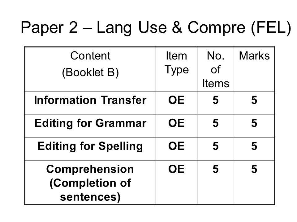 Paper 2 – Lang Use & Compre (FEL)