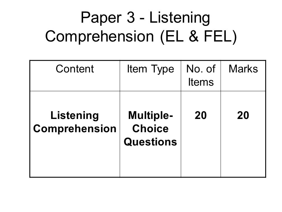Paper 3 - Listening Comprehension (EL & FEL)