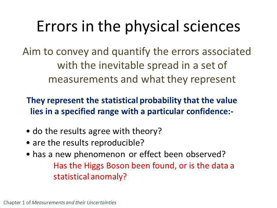Errors in the physical sciences