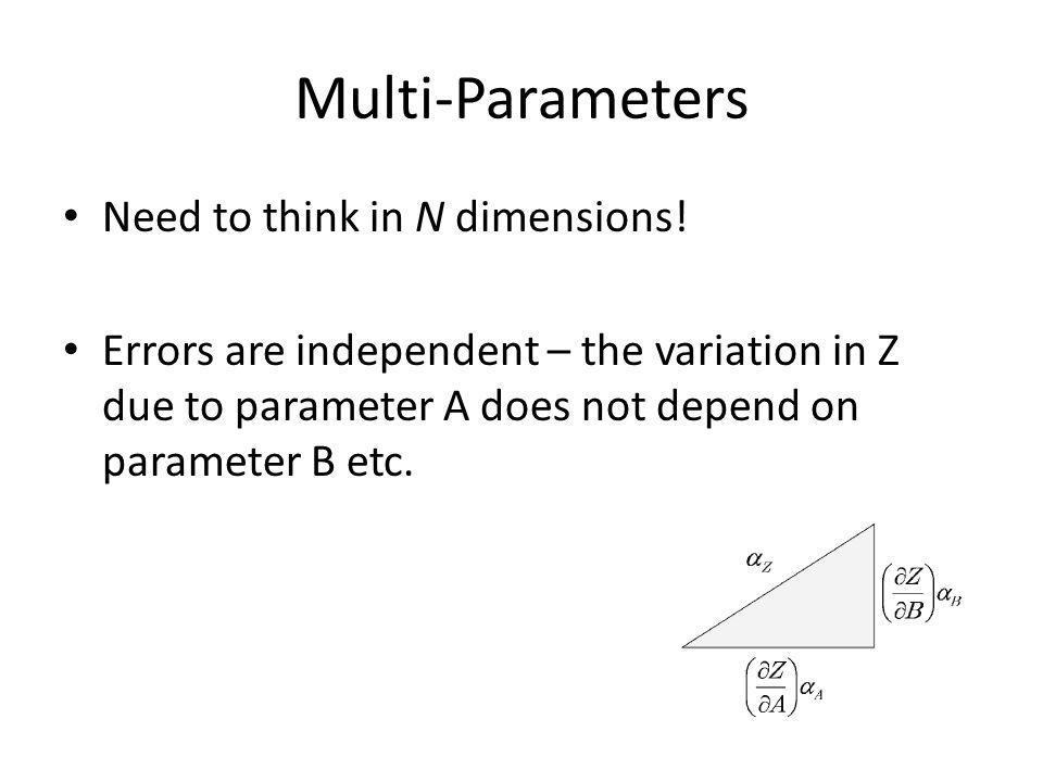 Multi-Parameters Need to think in N dimensions!