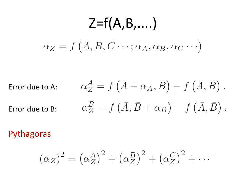 Z=f(A,B,....) Error due to A: Error due to B: Pythagoras