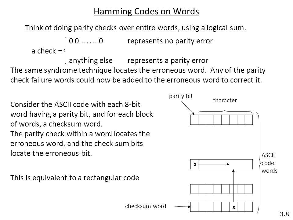 Hamming Codes on Words Think of doing parity checks over entire words, using a logical sum. 0 0  0 represents no parity error.