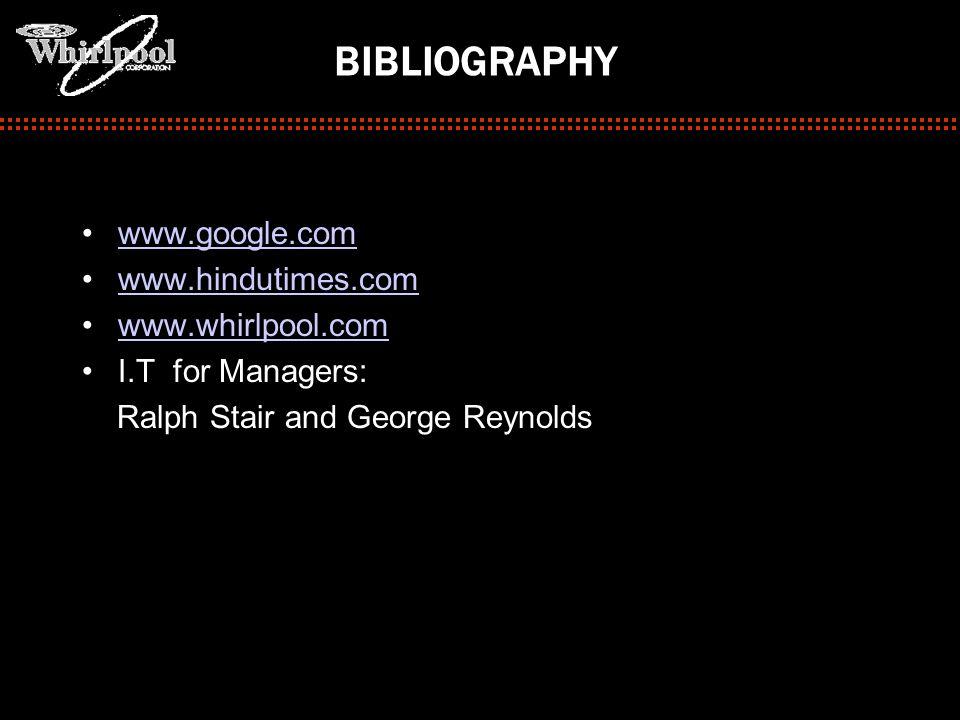 BIBLIOGRAPHY www.google.com www.hindutimes.com www.whirlpool.com