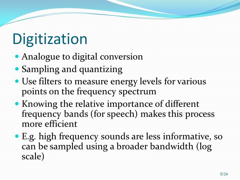 Digitization Analogue to digital conversion Sampling and quantizing
