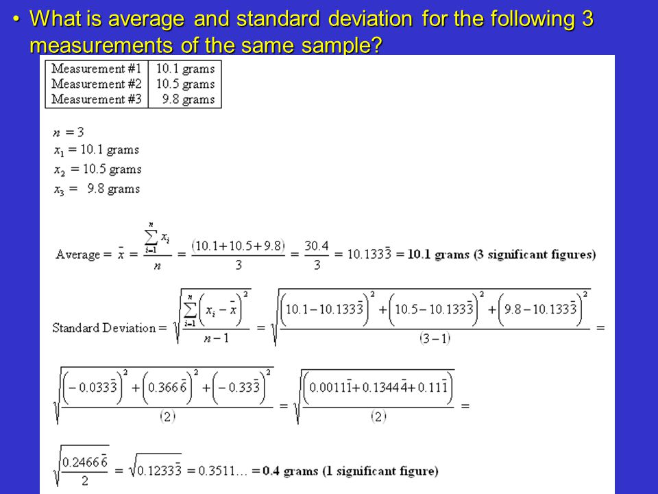 What is average and standard deviation for the following 3 measurements of the same sample