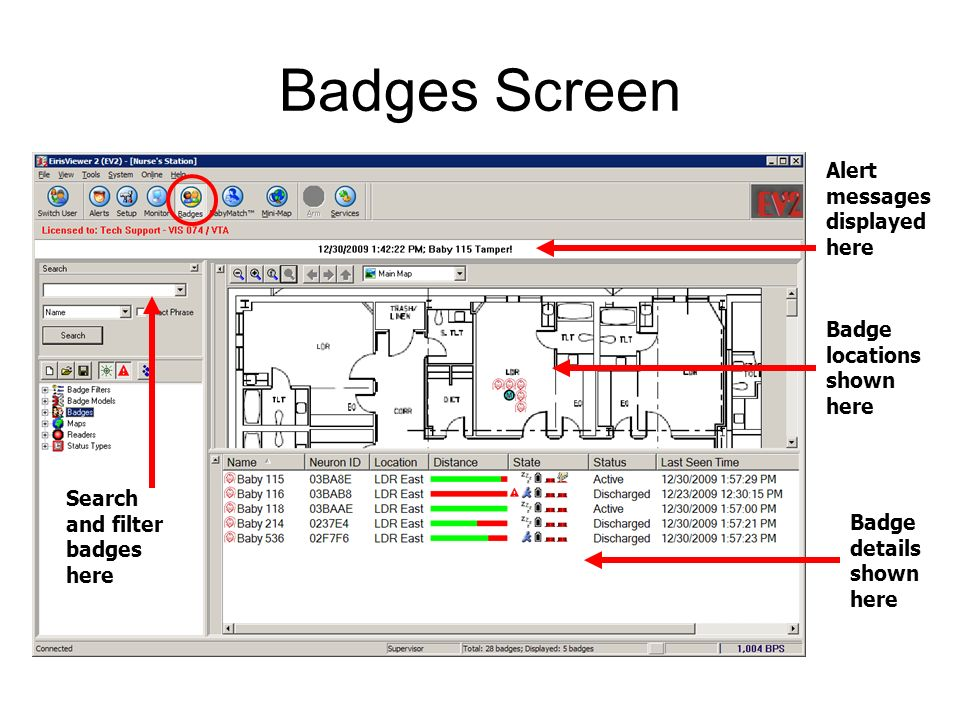 Badges Screen Alert messages displayed here Badge locations shown here