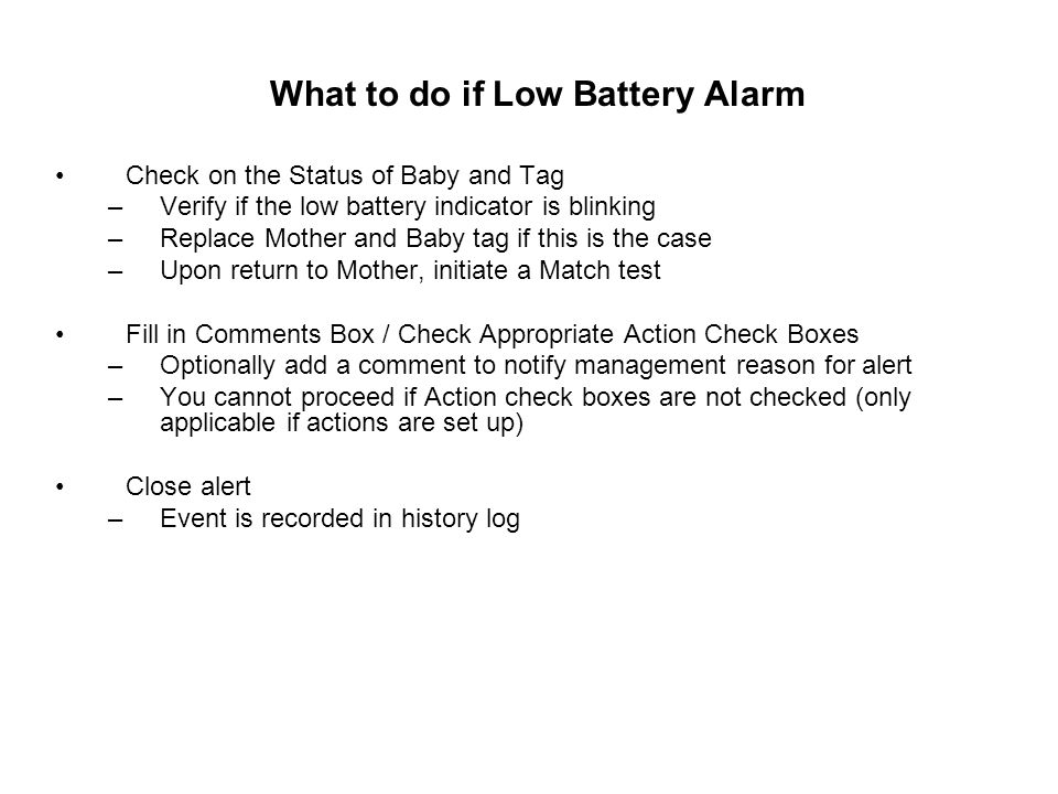 What to do if Low Battery Alarm