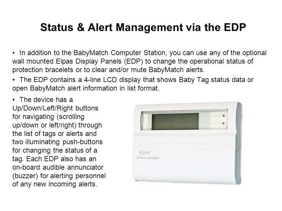 Status & Alert Management via the EDP
