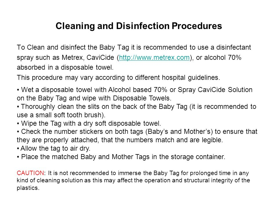Cleaning and Disinfection Procedures