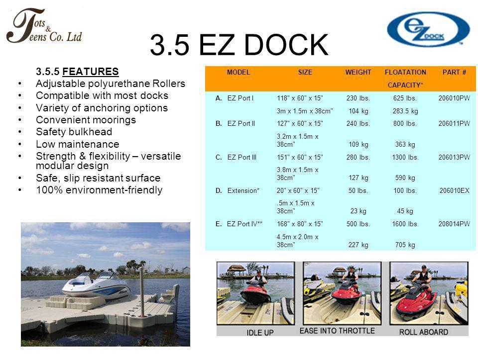 3.5 EZ DOCK 3.5.5 FEATURES Adjustable polyurethane Rollers