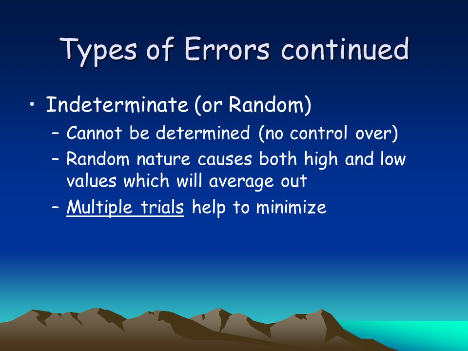 Types of Errors continued