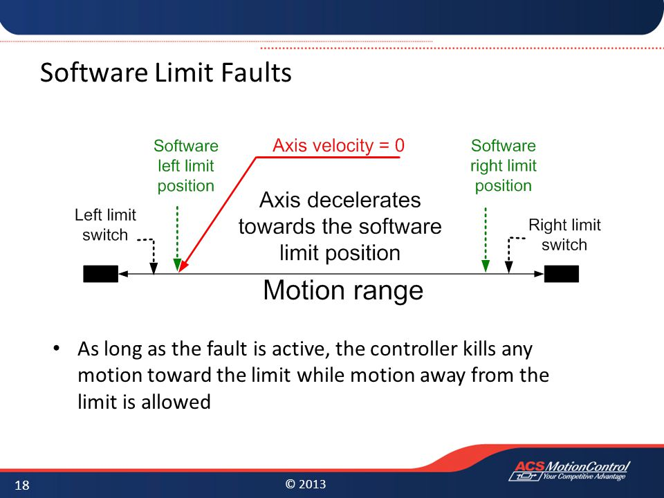 Software Limit Faults As long as the fault is active, the controller kills any motion toward the limit while motion away from the limit is allowed.