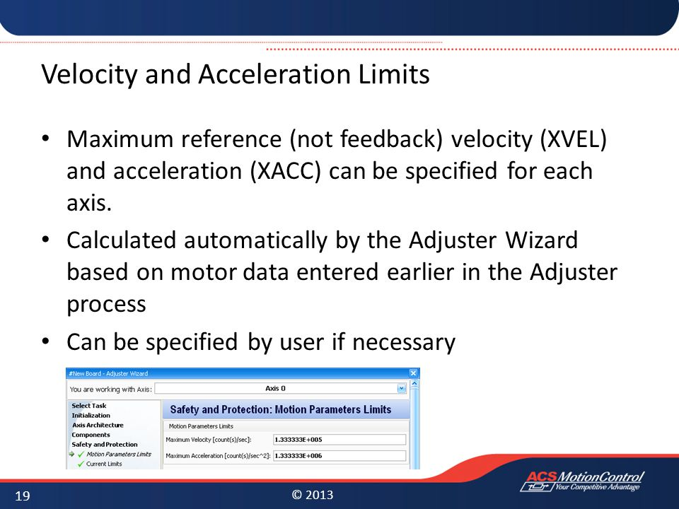 Velocity and Acceleration Limits