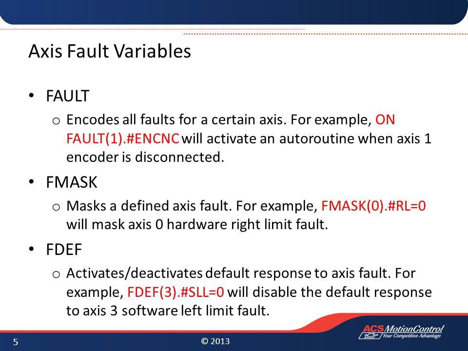 Axis Fault Variables FAULT FMASK FDEF