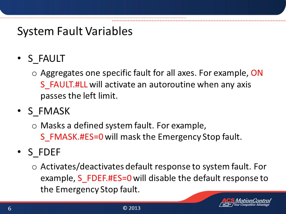 System Fault Variables