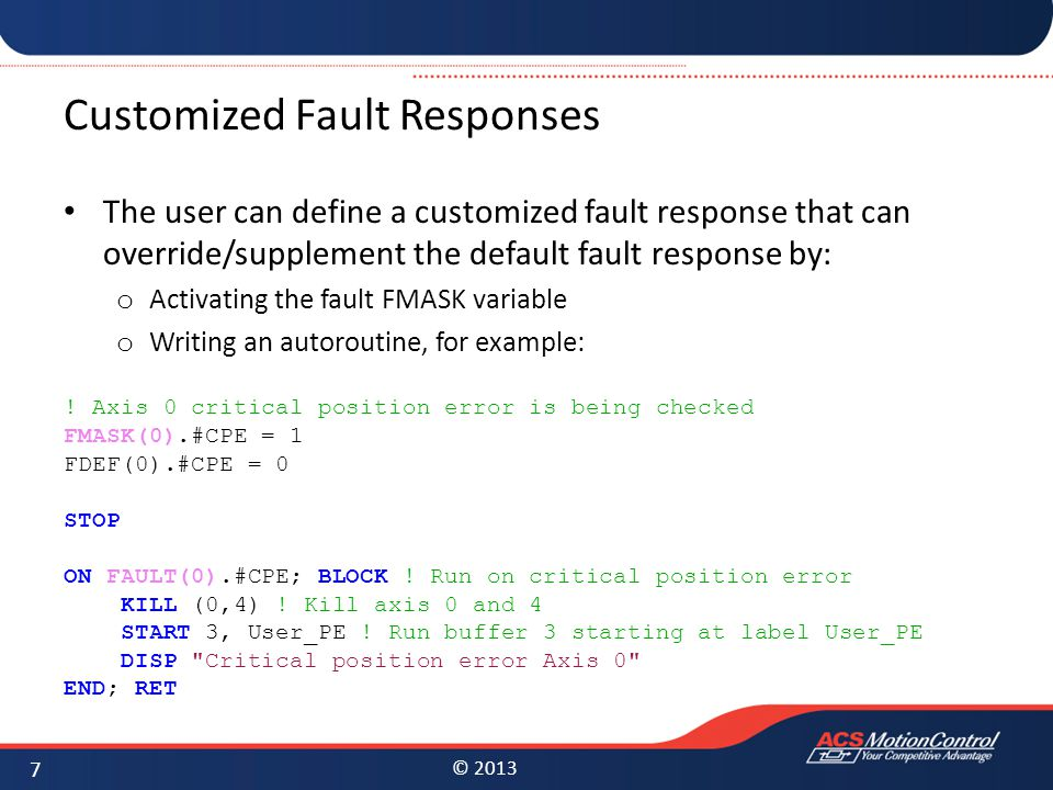 Customized Fault Responses