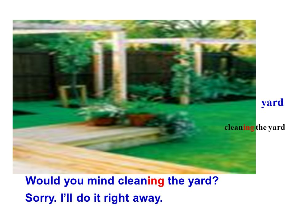 Would you mind cleaning the yard
