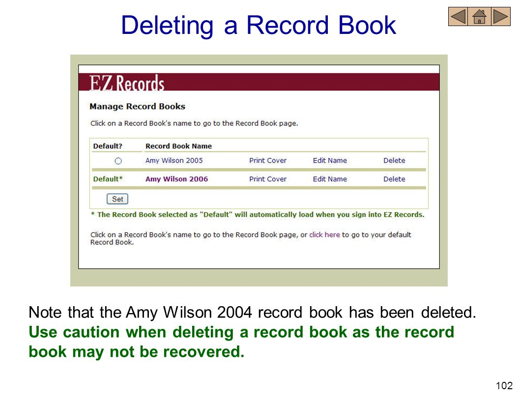 Deleting a Record Book