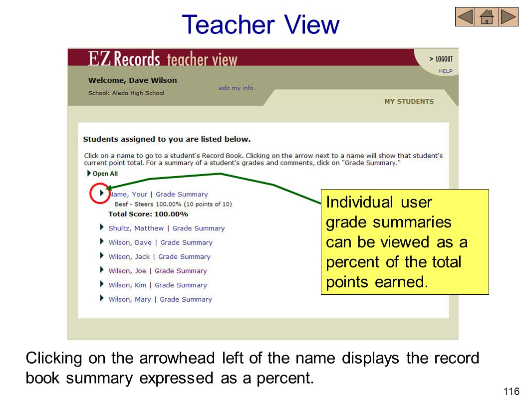 Teacher View Individual user grade summaries can be viewed as a percent of the total points earned.
